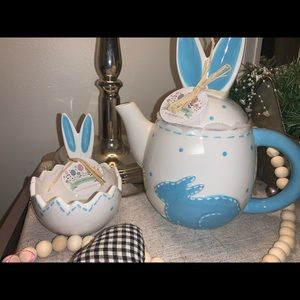 Easter Stitch Teapot and candy dish